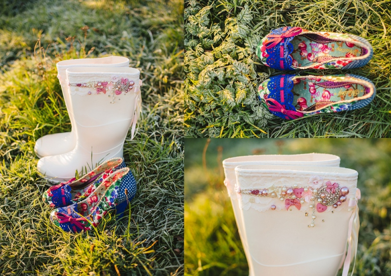 getting ready photos, wedding shoes, high heels and pink jewel wellies in frosty grass on dartmouth farm during sunrise