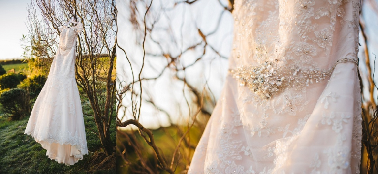 light pink wedding dress hanging up in tree at dartmouth farm during the sunrise
