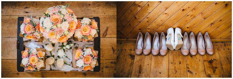 bride and bridesmaids shoes and bouquets from wild floral designs on wooden floor