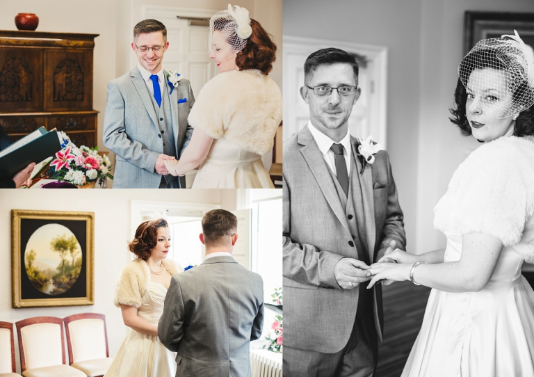 Ceremony photos of bride and groom in cockington court registry office