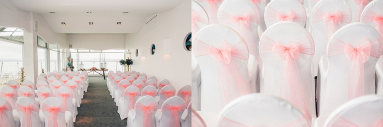 Living Coasts Wedding Photography Torquay, Devon_Devon Wedding Company chair covers at living coasts room with a view