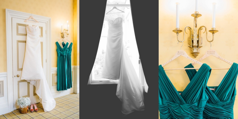 Imperial Hotel Torquay Wedding Photography, glittering gold and emerald green colour scheme_0002 bridal dresses, vivienne westwood shoes and a bucket of gypsophilia flowers