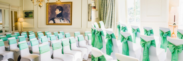 1 Royal Clarence Hotel, ABode Exeter Wedding Photography_ceremony room with chair covers and green sashes from Cover Cupboard Teignmouth