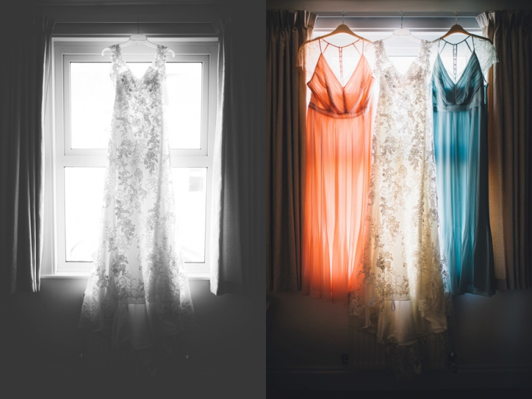 Intimate, Pastel Vintage Wedding Photography at Redcliffe Hotel, Paignton, Devon_bride bridesmaid dresses hanging in window beautifully back lit