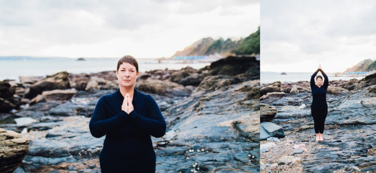 Yoga Portrait Session on Meadfoot Beach Torquay Portrait Photography_standing postures