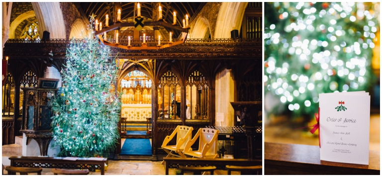 Imperial Hotel Torquay Wedding Photography Documentary Style - Cockington church with christmas tree, homemade order of service