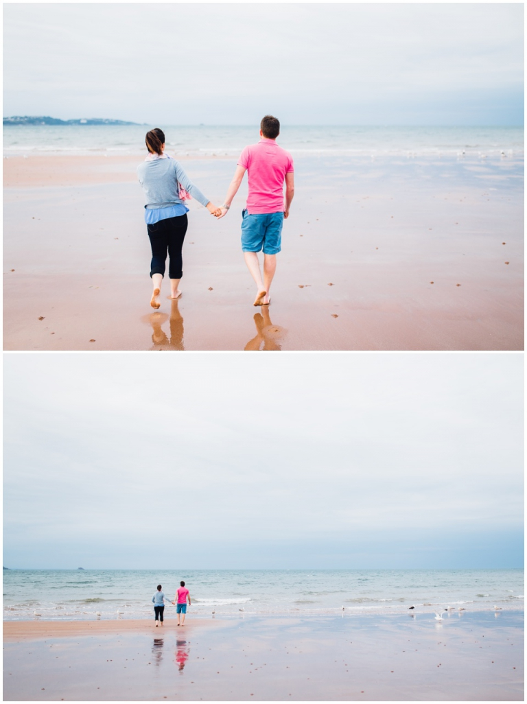 3 Broadsands Beach Paignton Engagement Photography, Couples Photo Session - couple holding hands walking on beach
