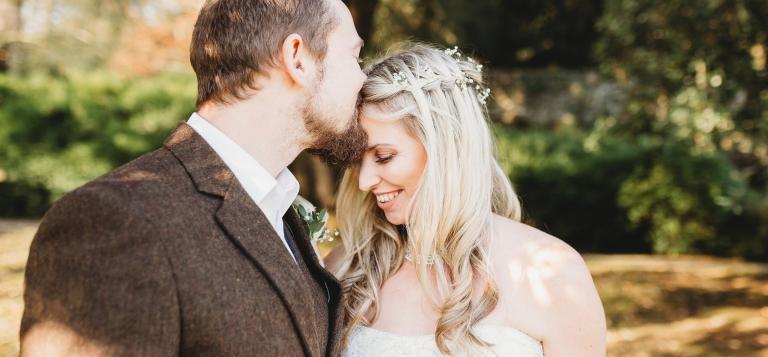 3 Documentary Wedding Photography in Torquay, Exeter, Devon - Dartington Hall kiss