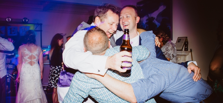 10 Documentary Wedding Photography in Torquay, Exeter, Devon - bromance on the dance floor