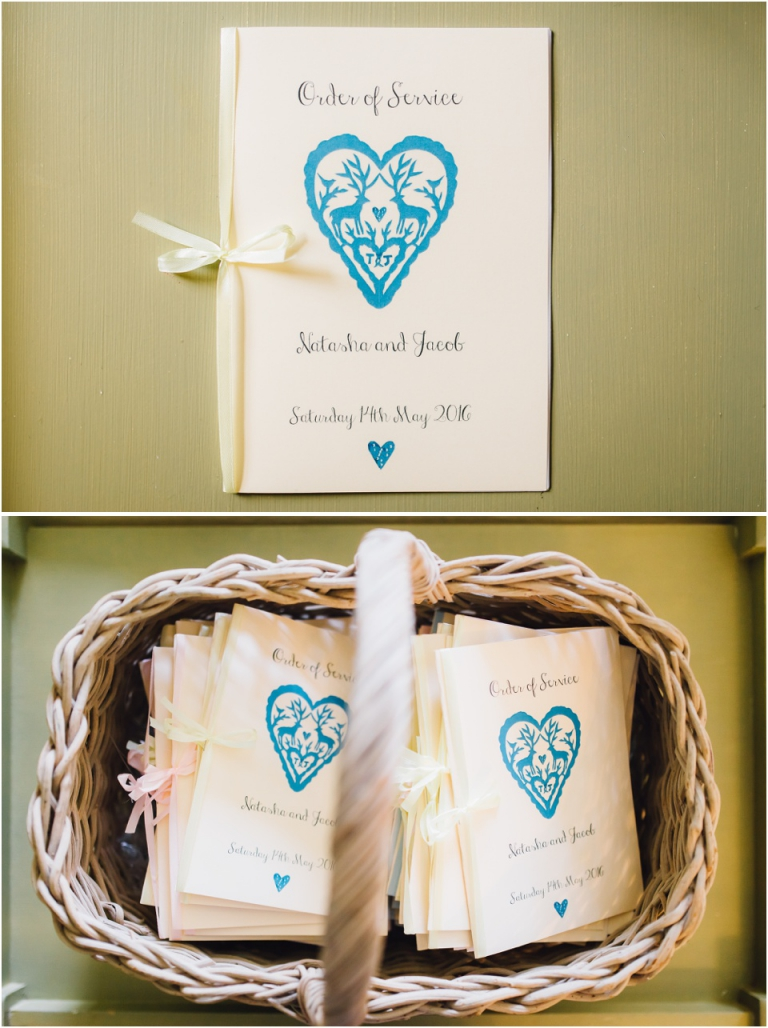 1 Pastel Wedding Photography in Cornwall, The Vean - orders of service with deer design