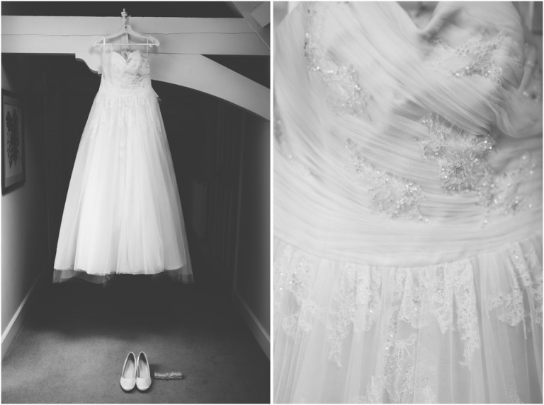 2 Pastel Wedding Photography in Cornwall, The Vean - a strapless ivory and lace Benjamin Roberts wedding dress