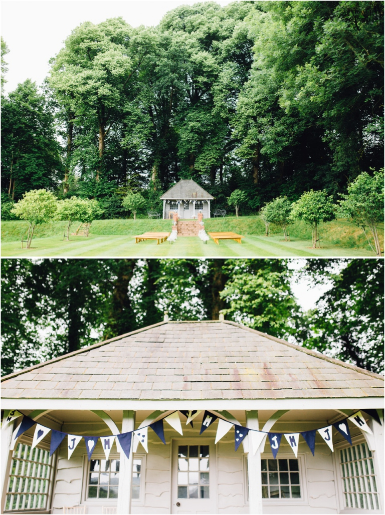 2 Deer Park Country House Hotel, Exeter Wedding Photography - summer house and homemade bunting