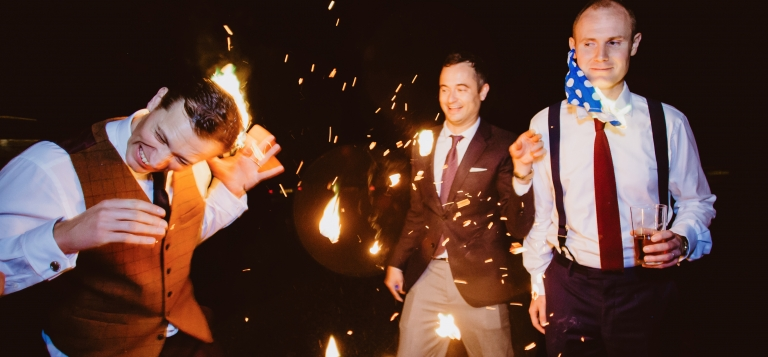 12 Documentary Wedding Photography in Torquay, Exeter, Devon - funny drunk reception photos fire game