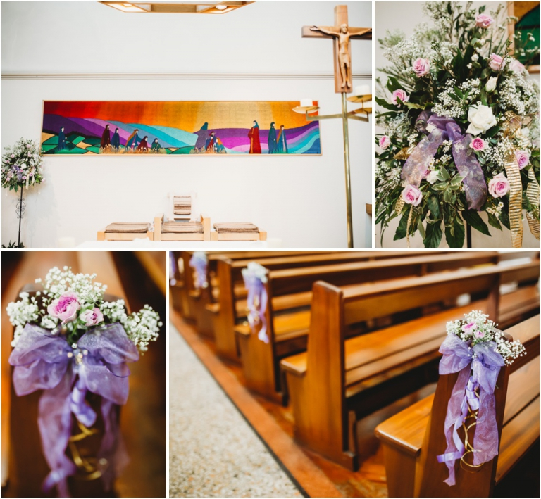 1 Dainton Park Golf Club, Newton Abbot Wedding Photography - St Josephs Church decorated with purple flowers and ribbon