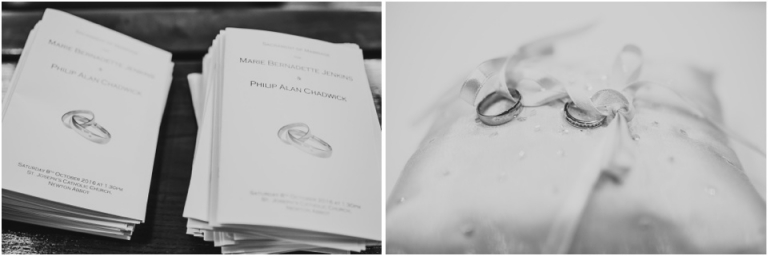 2 Dainton Park Golf Club, Newton Abbot Wedding Photography - black and white rings and order of service