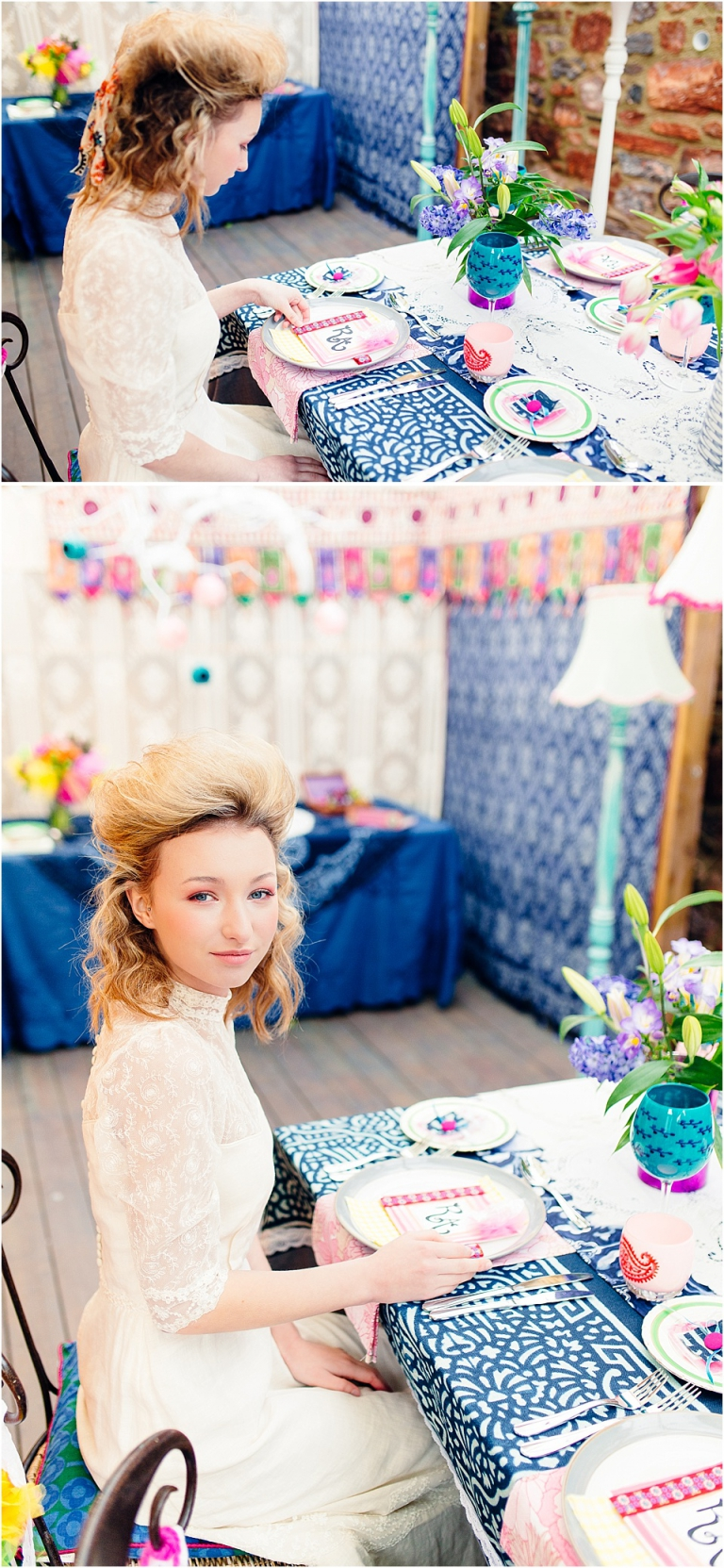 15 Bright Bohemian Colourful Inspiration Devon Wedding Photography - bride in vintage lace dress at colourful table