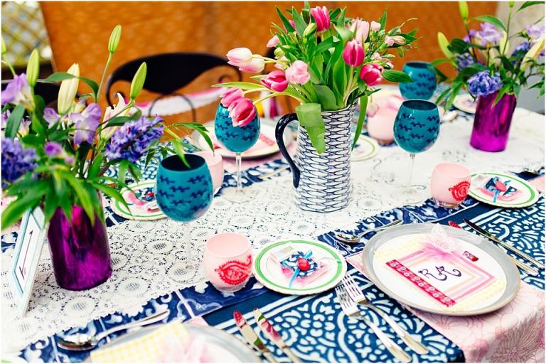 4 Bright Bohemian Colourful Inspiration Devon Wedding Photography    Colourful Boho Table Setting