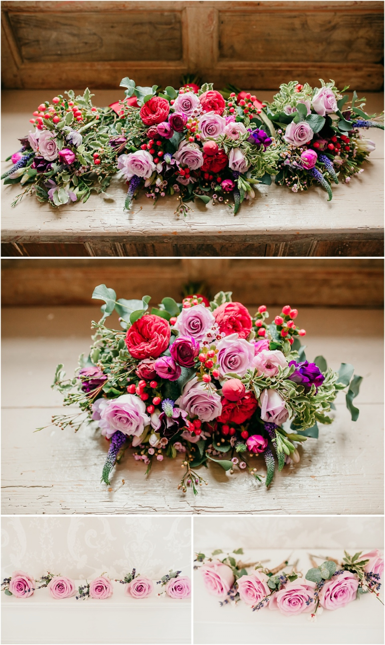 1 Relaxed, Fun, Colourful Wedding at Kingston Estate Devon Wedding Photography - Aster Floral Design red, purple and pink bouquets