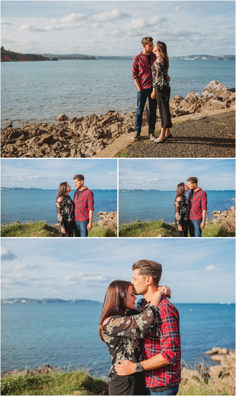 Pre Wedding Photography at Elberry Cove & Broadsands Beach, Paignton 1 - romatic couple portraits overlooking the sea
