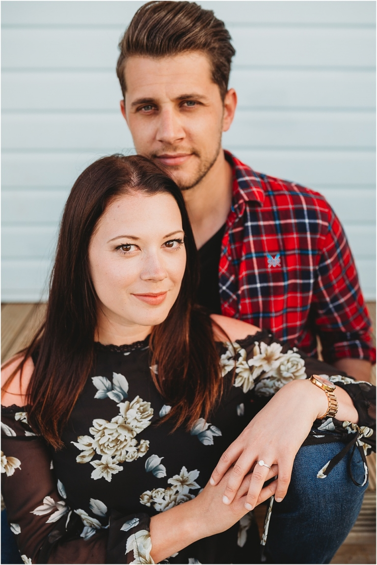 Pre Wedding Photography at Elberry Cove & Broadsands Beach, Paignton 14 - couple portrait on beach hut