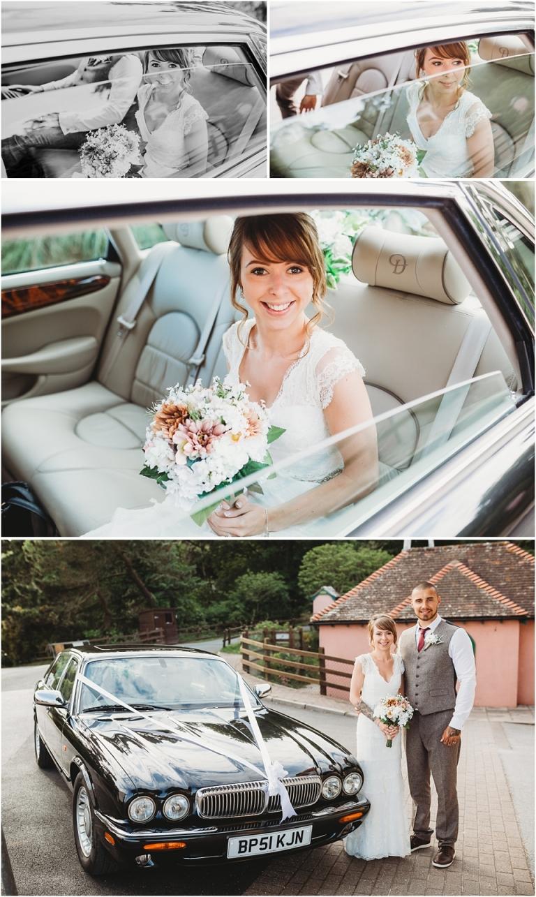 1 Wedding Reception Photography at The Flavel, Dartmouth - stunning bridal portrait in wedding car