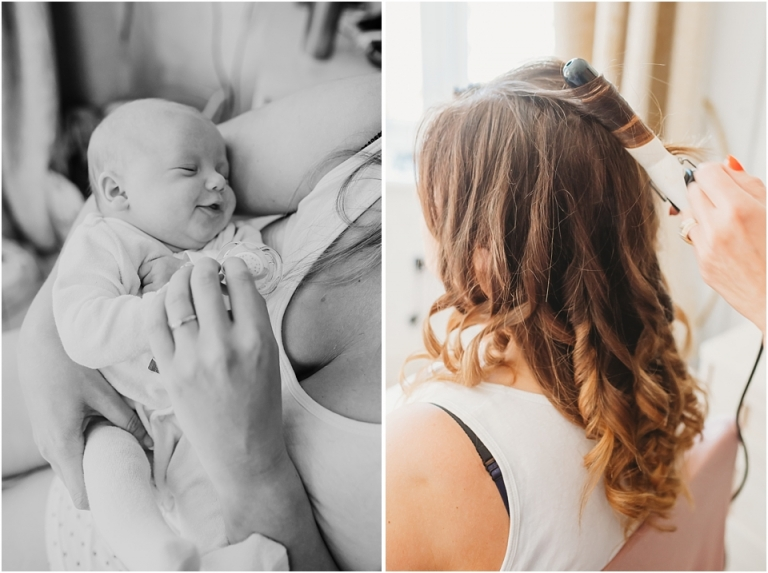 2 Summer Wedding Photography at Lavender House, Devon - bride holding baby while having hair done