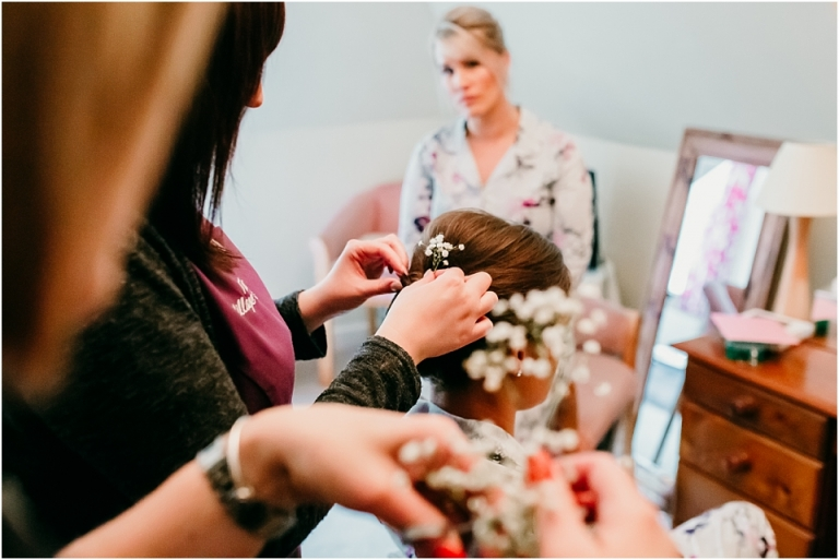 1 Documentary Brixham Wedding Photography Berry Head Hotel - The Village Salon gypsophila in hair