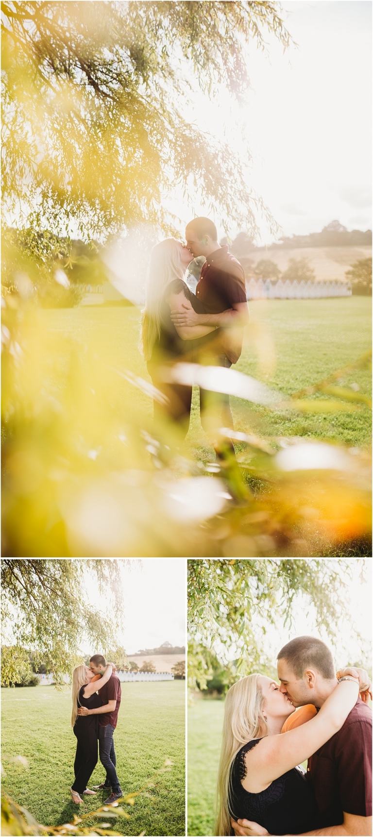 Broadsands Beach & Elberry Cove, Paignton Couple Photoshoot 2 - couple kissing in sunset under tree