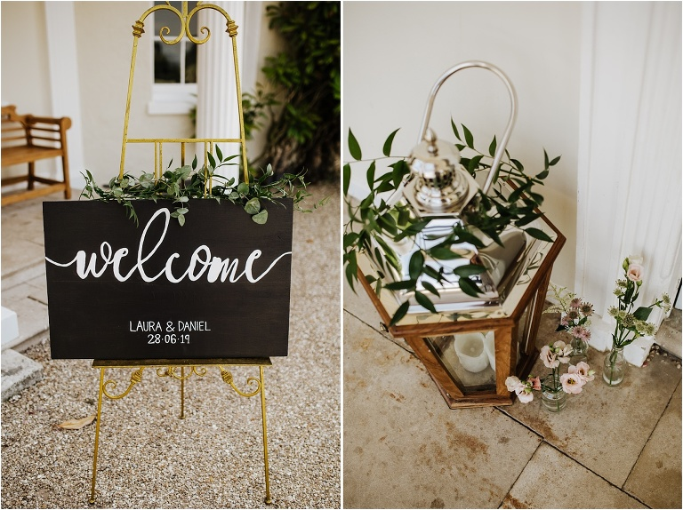 Exeter Wedding Photography at Rockbeare Manor Beautiful Summer Day (2) welcome sign